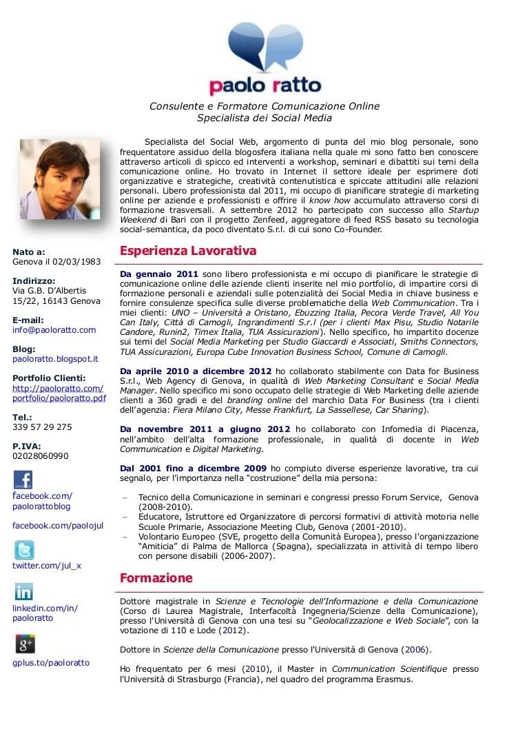 CV Paolo Ratto Consulente E Formatore Comunicazione Online