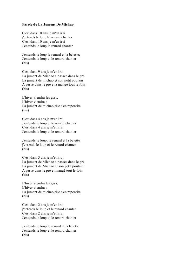 Le Loup Le Renard Et La Belette : renard, belette, Parole, Jument, Michao