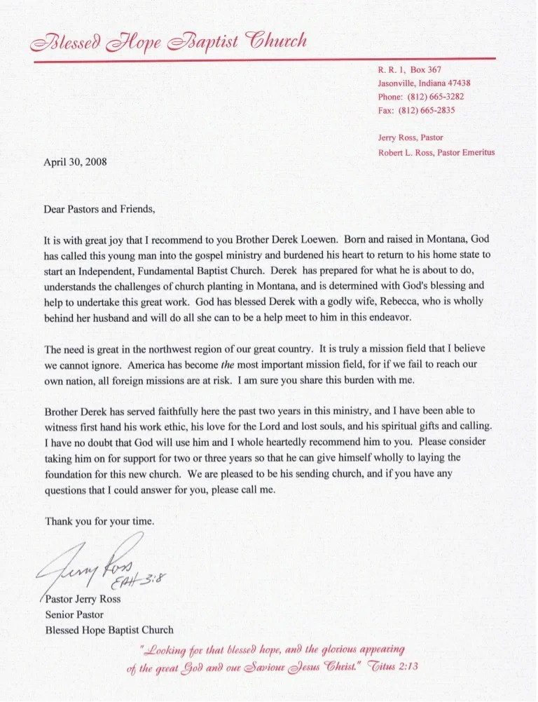 letter of recommendation for a pastor