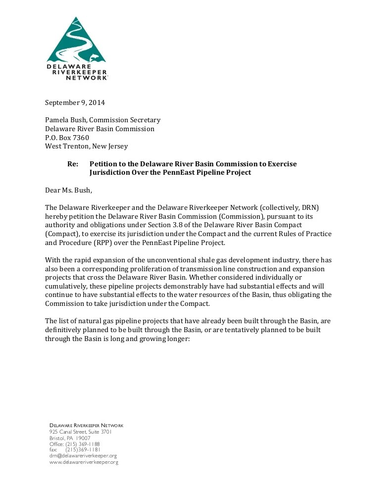 Delaware Riverkeeper Letter To DRBC Requesting