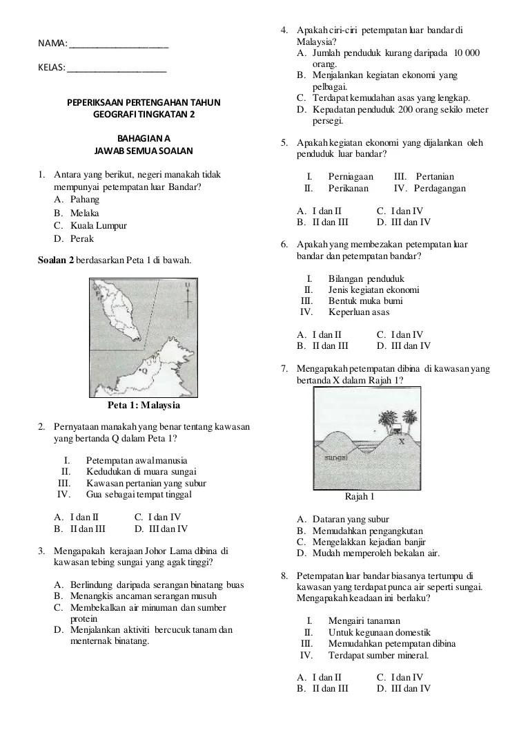 Soalan Geografi Akhir Tahun Tingkatan 2 Kecemasan D Cute766