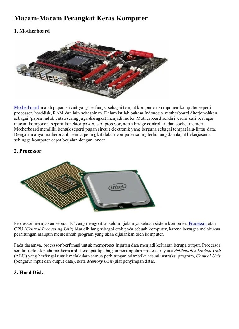 25+ Macam Perangkat Keras Komputer dan Fungsinya [LENGKAP]