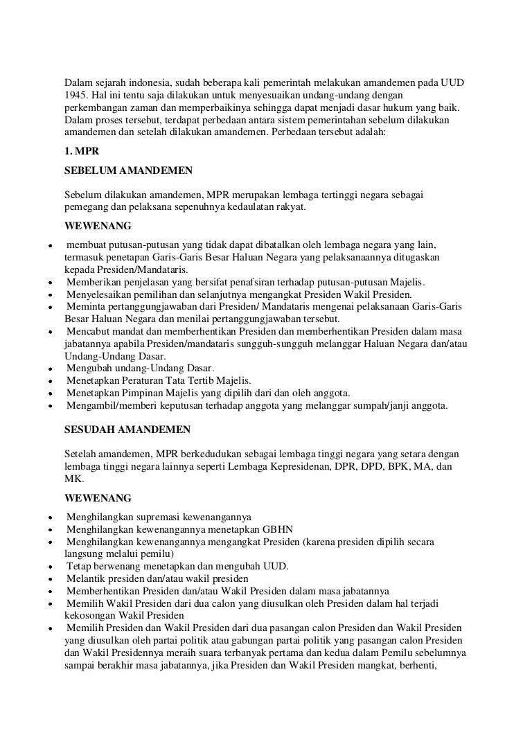 Tugas Dan Wewenang Mpr Sebelum Amandemen : tugas, wewenang, sebelum, amandemen, Perbedaan, Wewenang, Sebelum, Sesudah, Amandemen, Berbagai