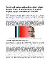 Tujuan Pemberontakan Rms : tujuan, pemberontakan, Peristiwa, Pemberontakan, Republik, Maluku, Selatan