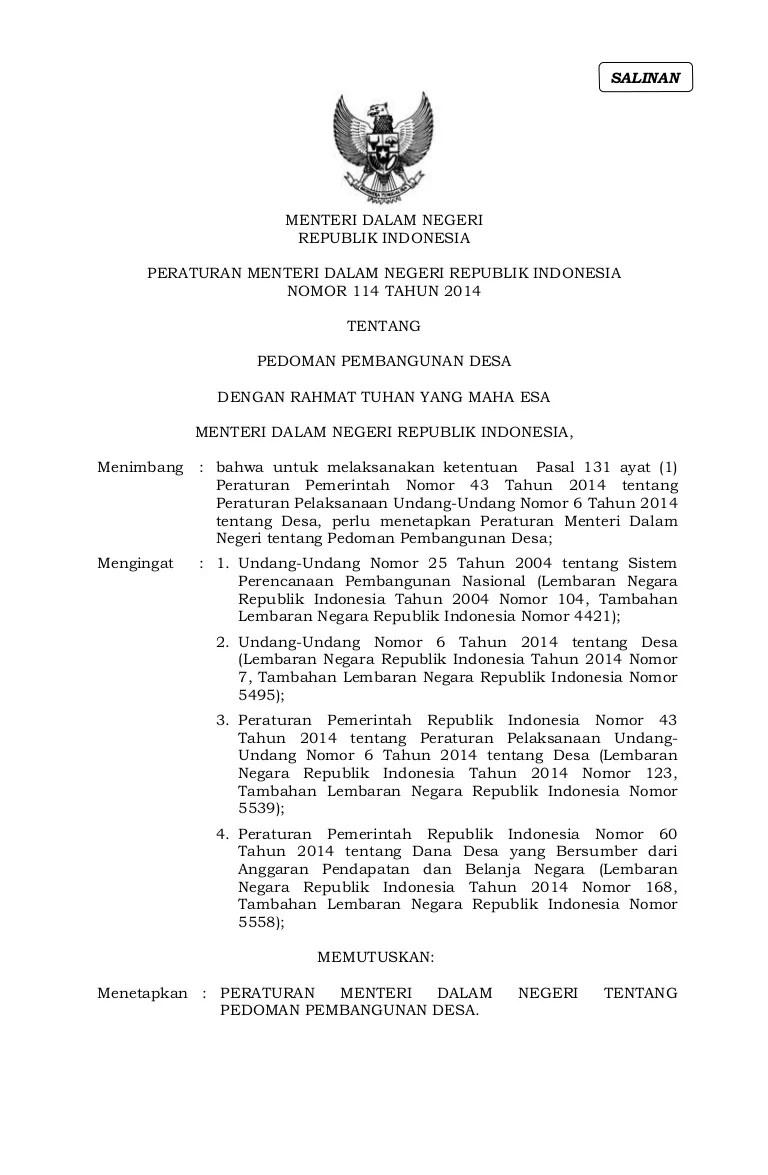 Permendagri No 111 Tahun 2014 Pdf : permendagri, tahun, Permendagri, Pedoman, Pembangunan