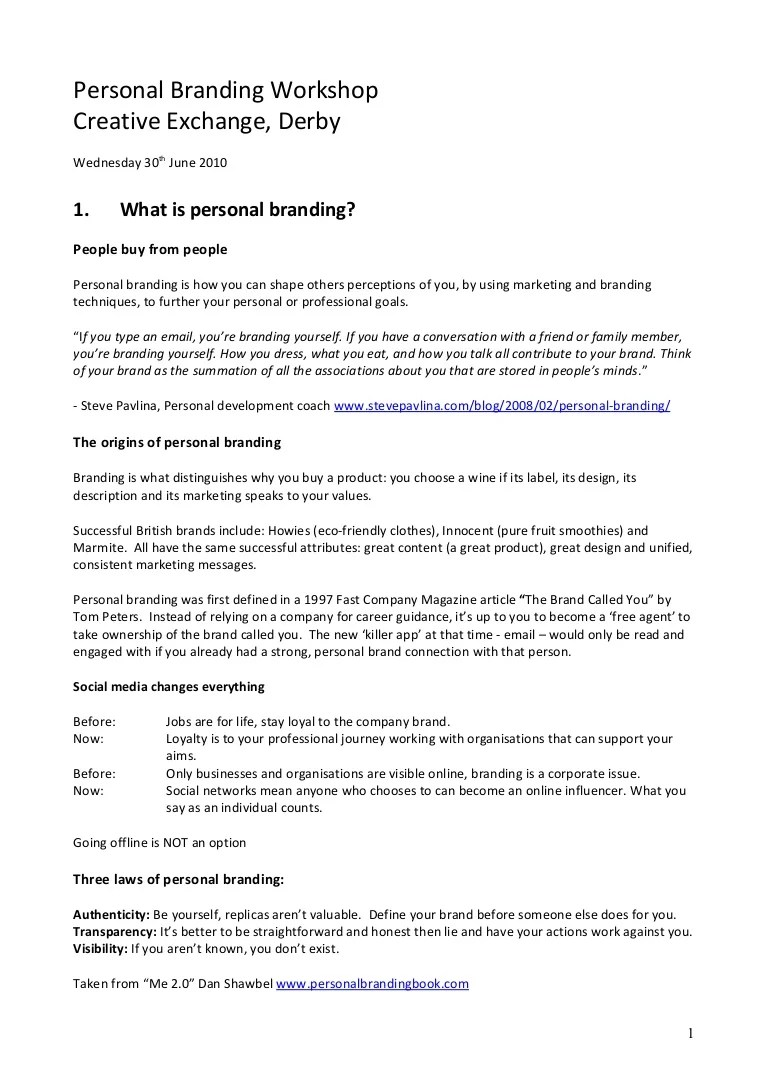 Personal Branding In The Digital Age Course Handouts