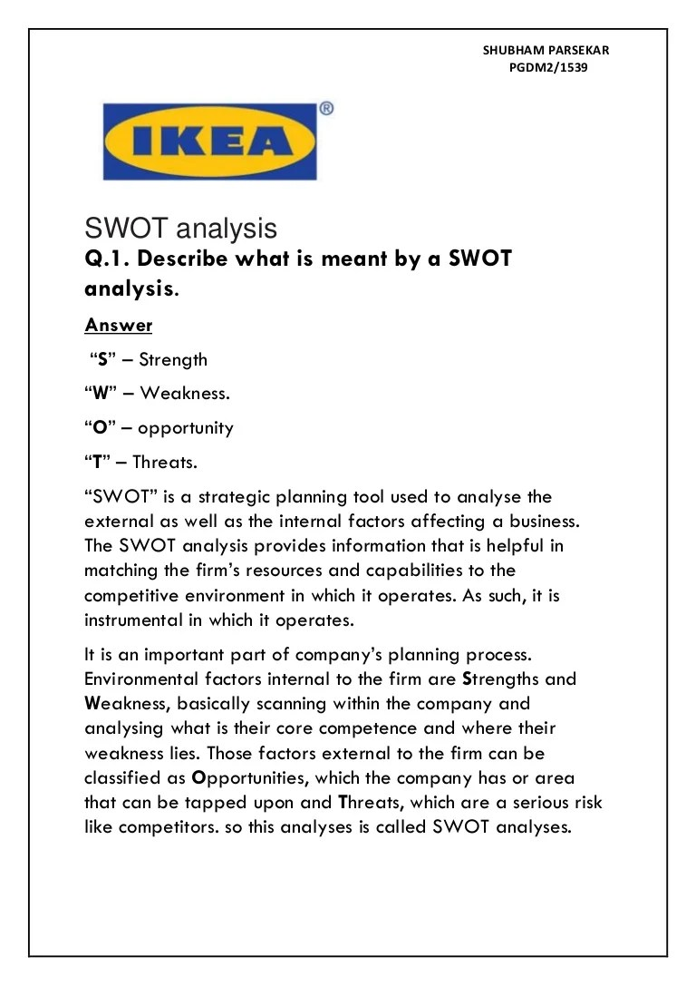 IKEA SWOT analyses  Innovation and entrepreneur case