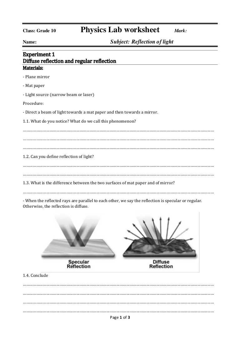 hight resolution of Physics lab worksheet reflection