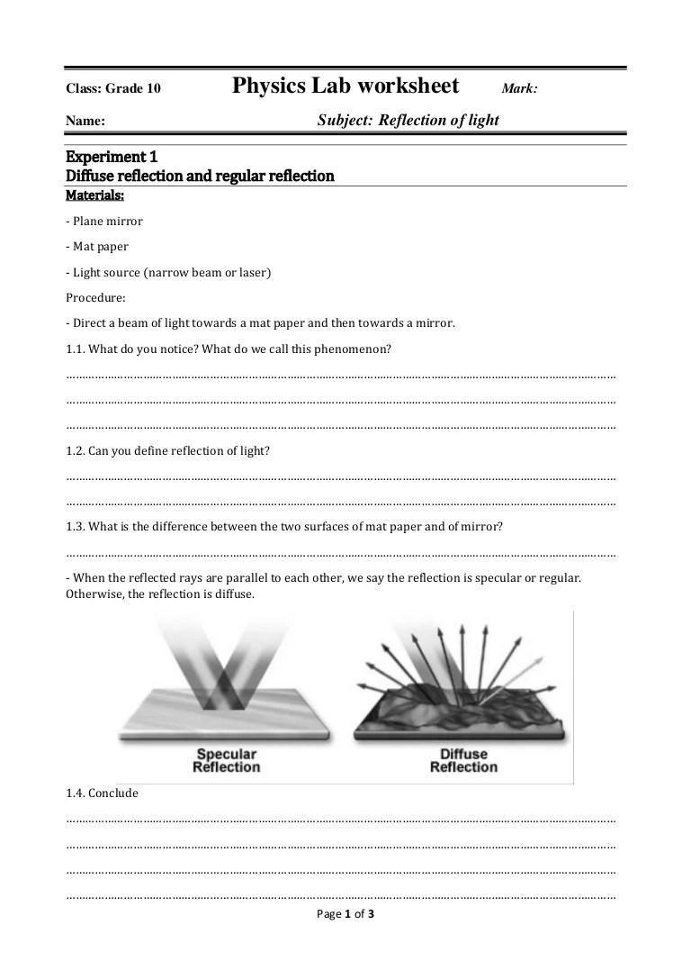 hight resolution of Physics lab worksheet reflection