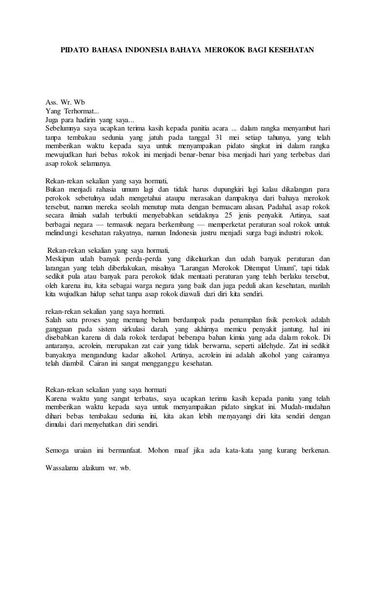 Pidato Tentang Bahaya Merokok : pidato, tentang, bahaya, merokok, Pidato, Bahasa, Indonesia, Bahaya, Merokok, Kesehatan