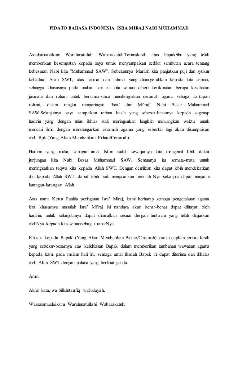 Teks Ceramah Isra Mi'raj : ceramah, mi'raj, Pidato, Bahasa, Indonesia, Miraj, Muhammad