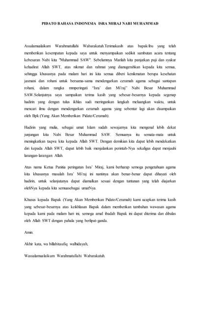 Teks Ceramah Isra Mi'raj : ceramah, mi'raj, Pidato, Bahasa, Inggris, Miraj