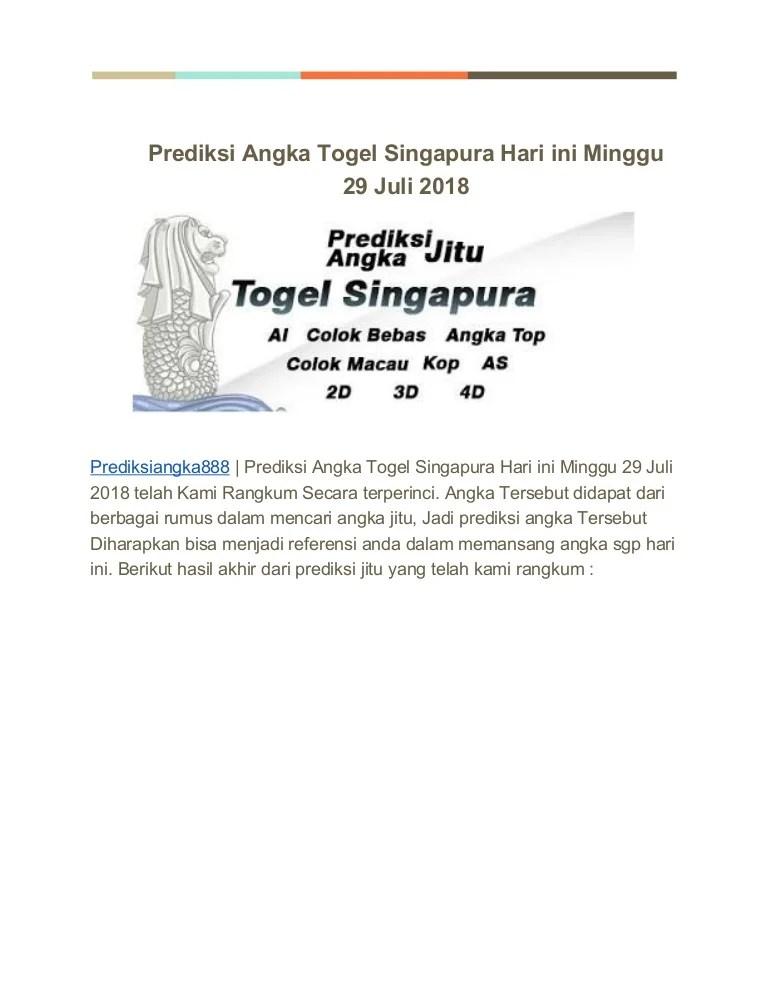 Angka Main Hari Minggu : angka, minggu, Prediksi, Angka, Togel, Singapura, Minggu