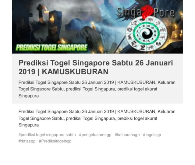 Prediksi Togel Singapore Sabtu