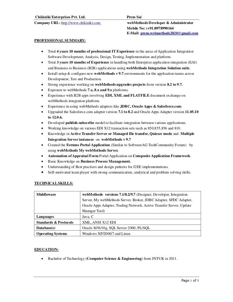 webmethods resume samples