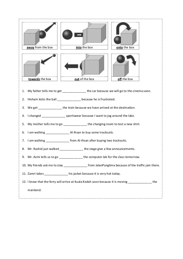 small resolution of Preposition worksheet year 4