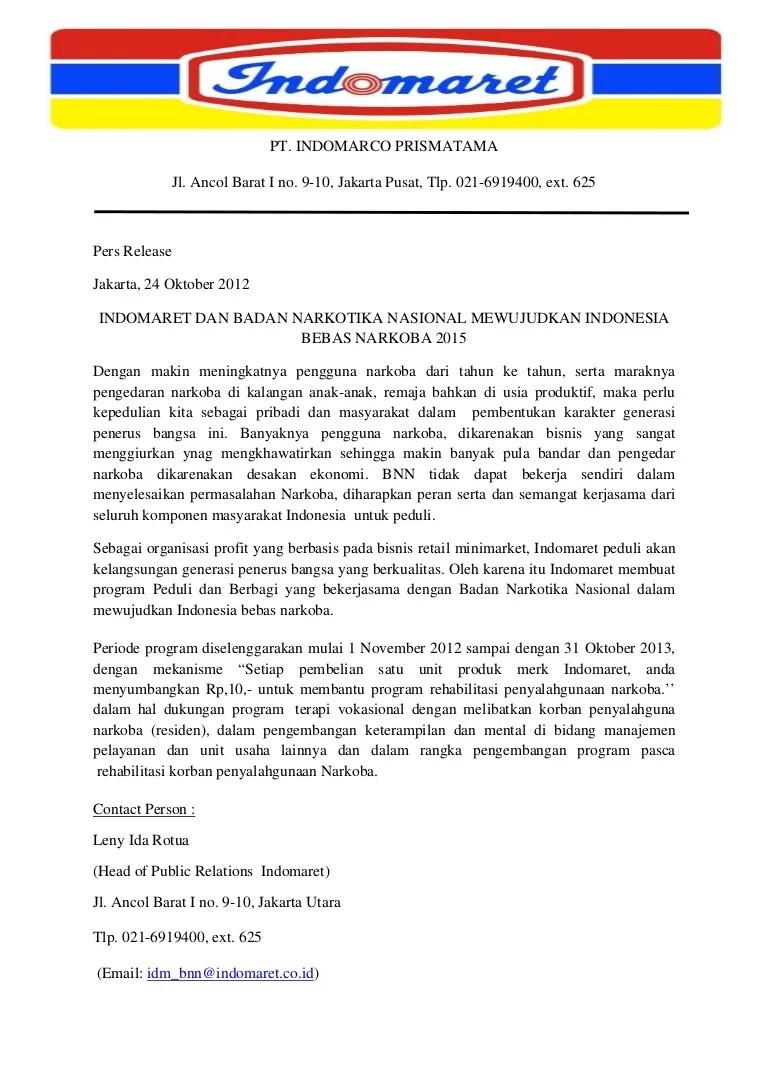 Press Release Indomaret Peduli dan Berbagi