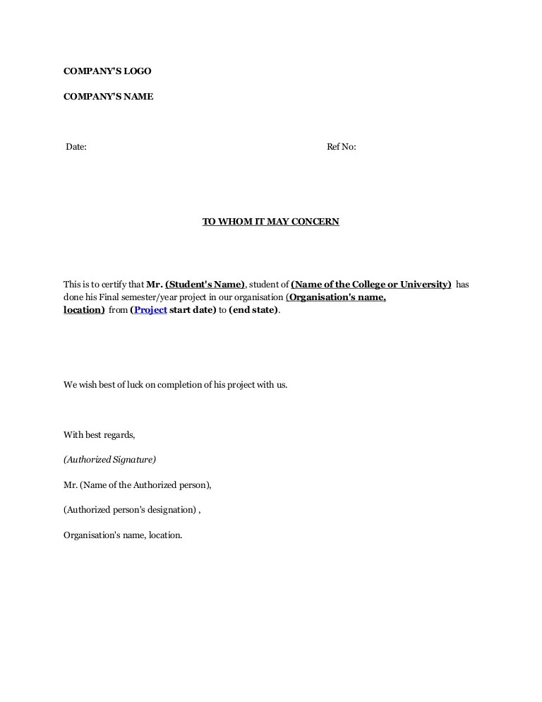 Project Confiration Letter Sample
