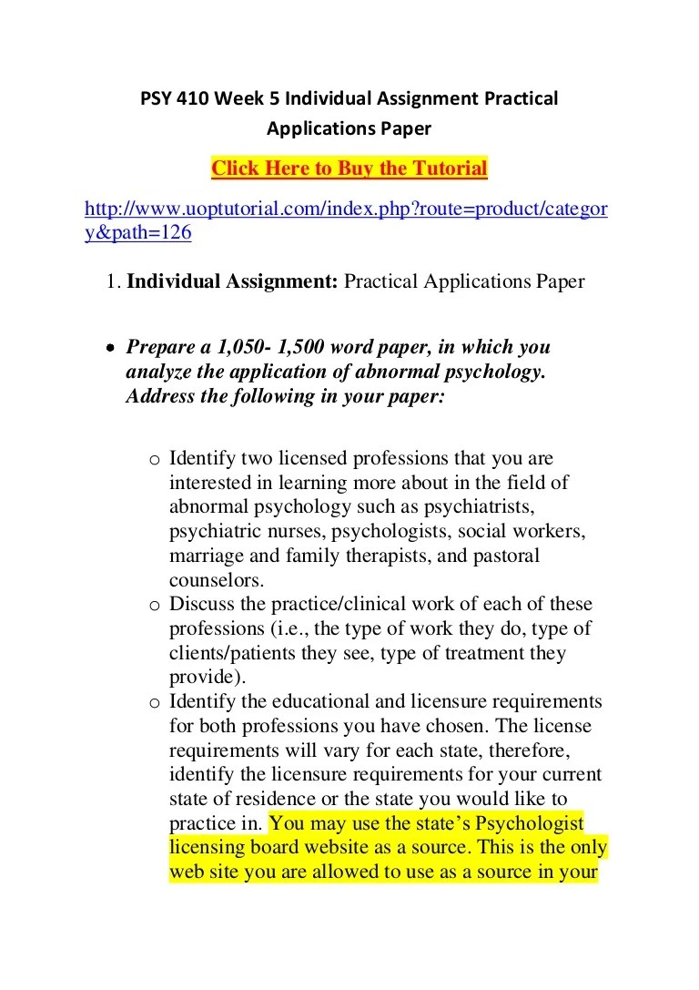 500 Word Paper Psy 410 Week 5 Individual Assignment Practical