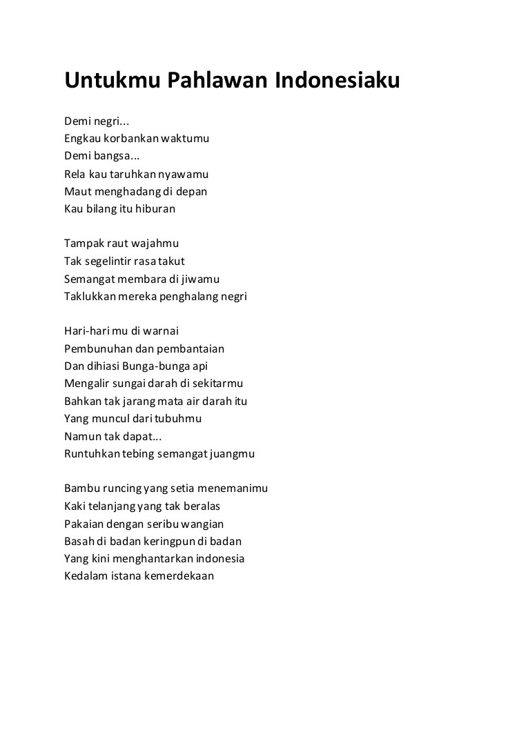 Puisi Kemerdekaan 4 Bait : puisi, kemerdekaan, Puisi, Tentang, Pahlawan