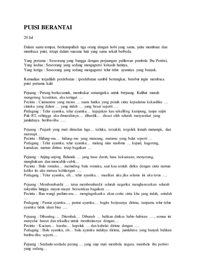 Puisi Berantai Lucu : puisi, berantai, Puisi, Berantai