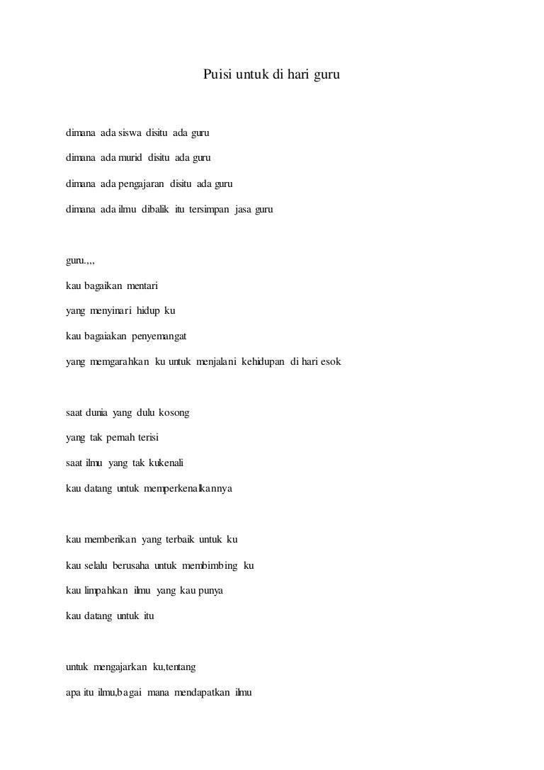 Puisi Hari Guru Nasional : puisi, nasional, Puisi, Untuk