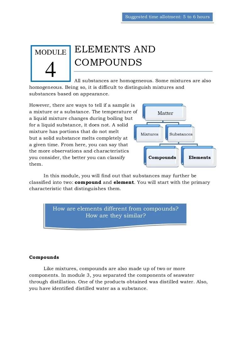 Qtr 1 module 4 elements \u0026 compounds [ 1087 x 768 Pixel ]