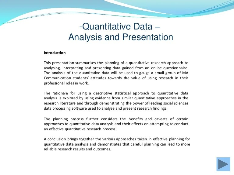 Quantitative Data Gathering And Analysis