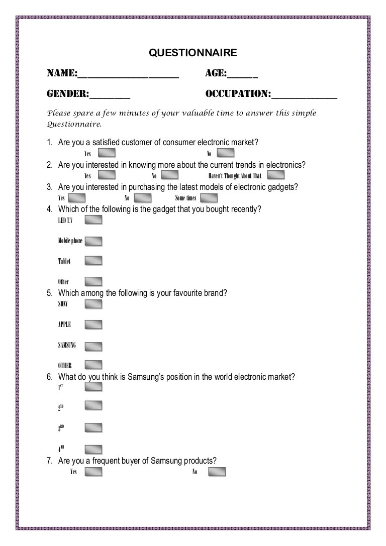 Questionnaire For The Survey Of Electronics Market For