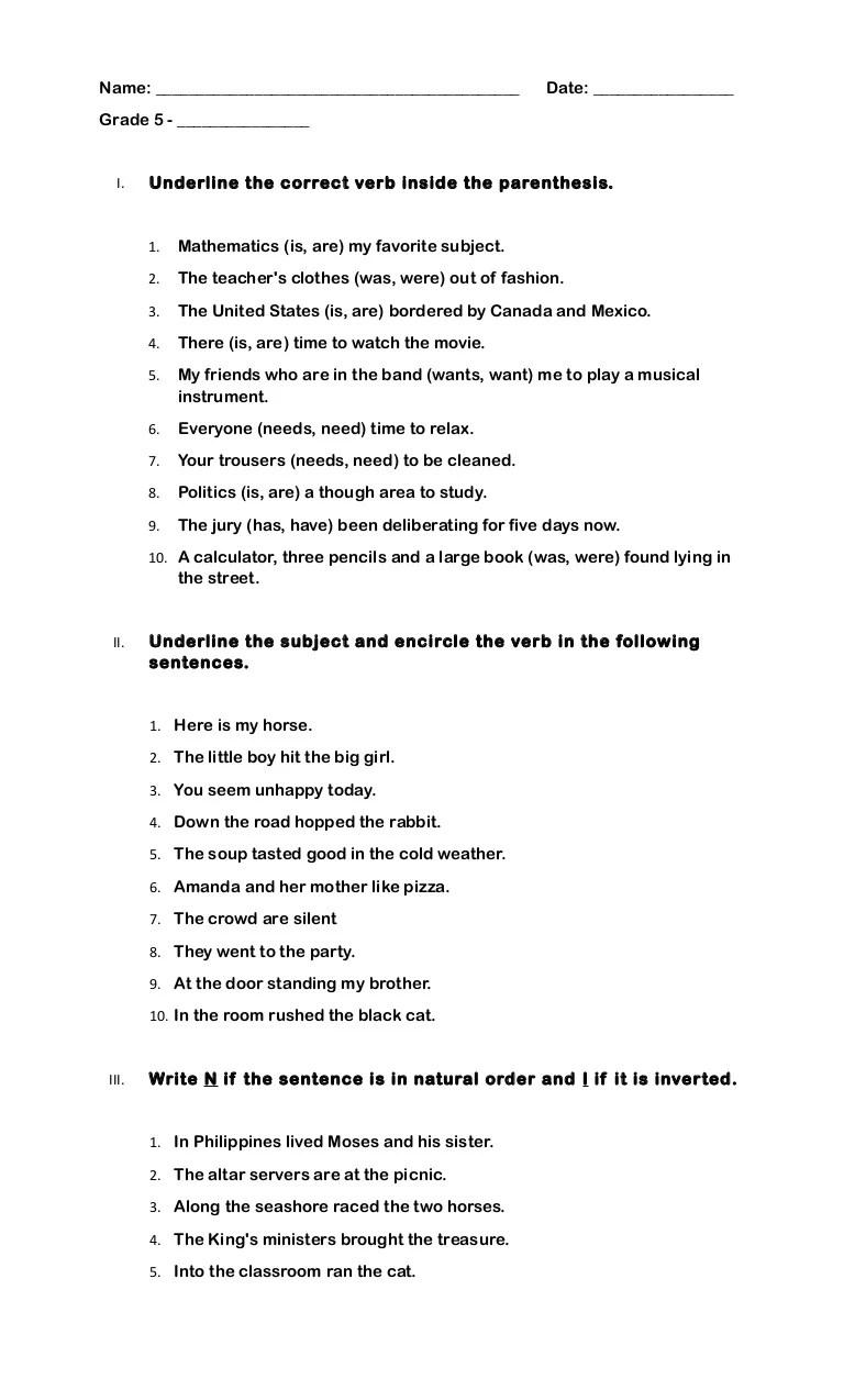 medium resolution of Quiz (grade 5): Subject Verb Agreement