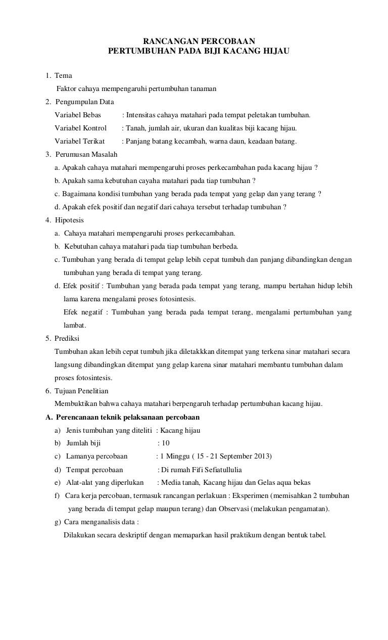 Laporan Kacang Hijau : laporan, kacang, hijau, Rancangan, Percobaan, Pertumbuhan, Kacang, Hijau