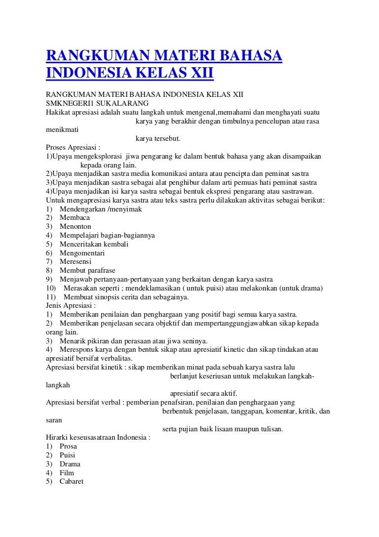 Materi Pelajaran Bahasa Indonesia SMA Kelas X Lengkap