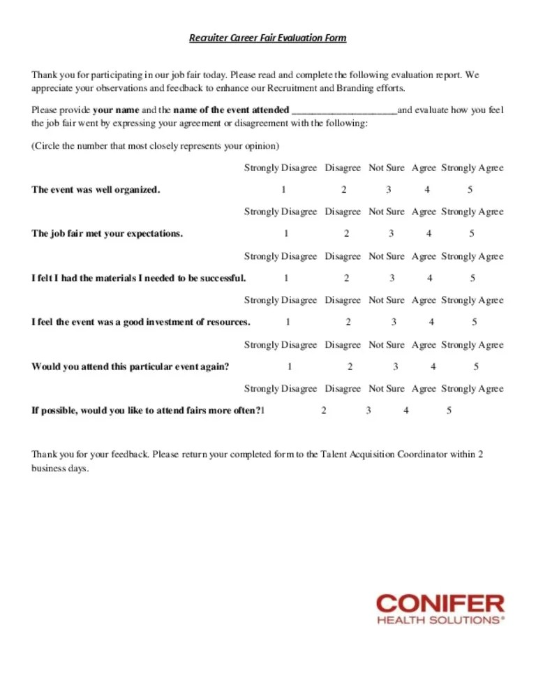 Recruiter Career Fair Evaluation Form
