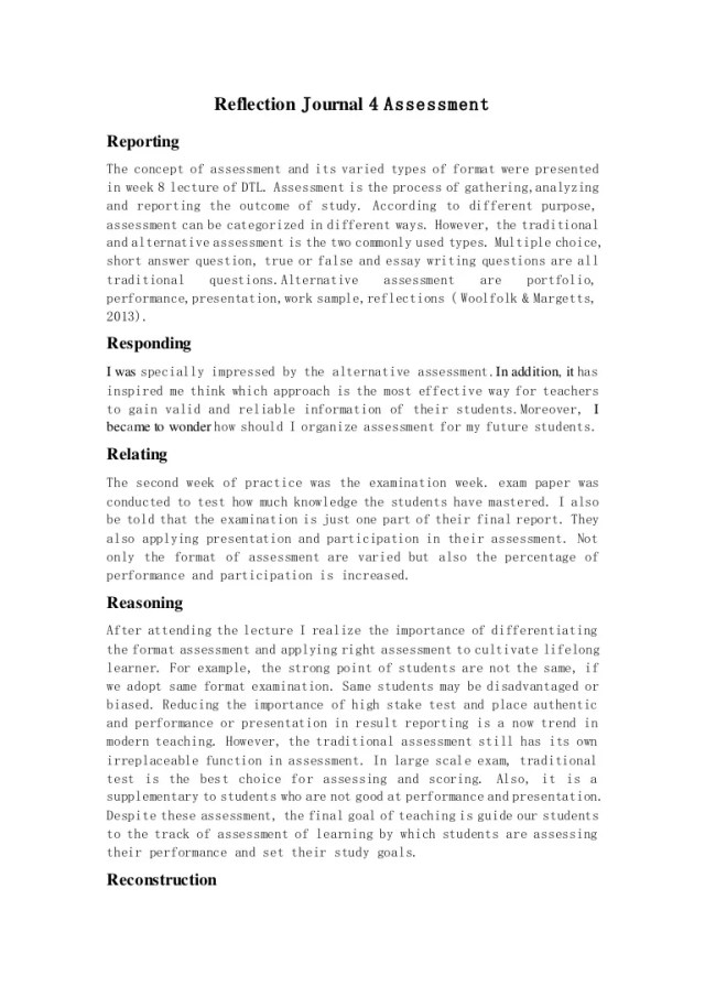Reflection journal 12 assessment