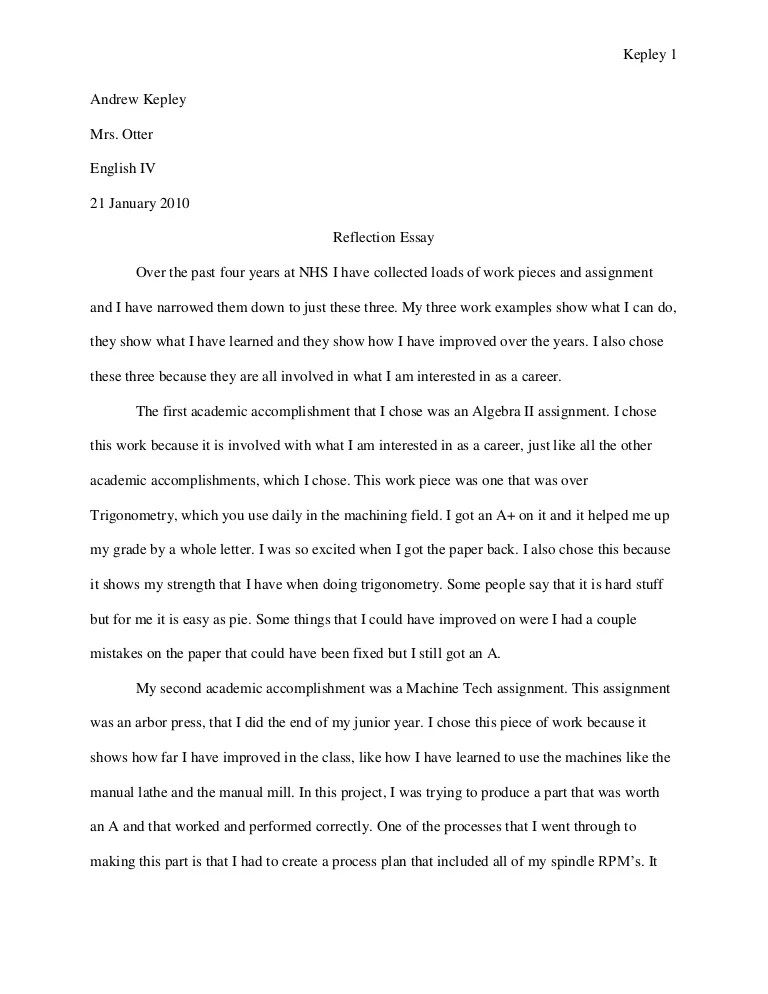 Sample Reflection Essay Sample Personal Reflection Essay