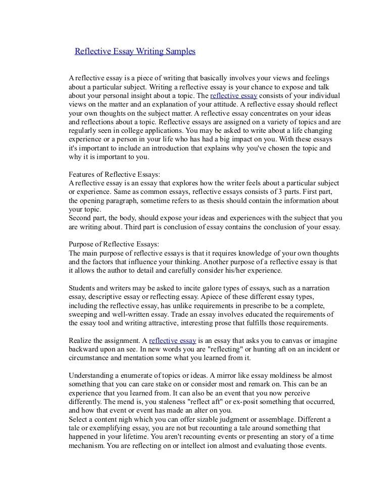 reflective essay writing examples