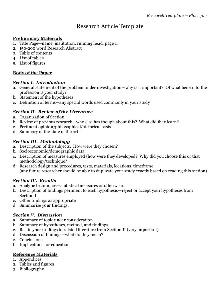 A Template For Writing Research Articles Or Papers By Dr
