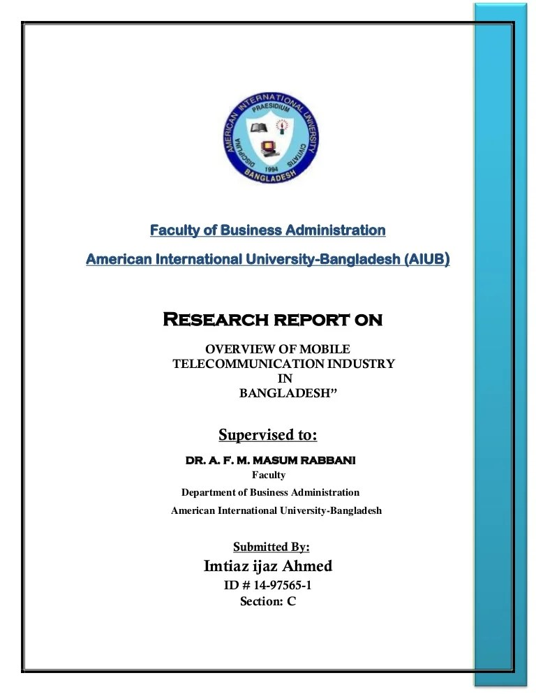 Research On Telecommunication Sector In Bangladesh