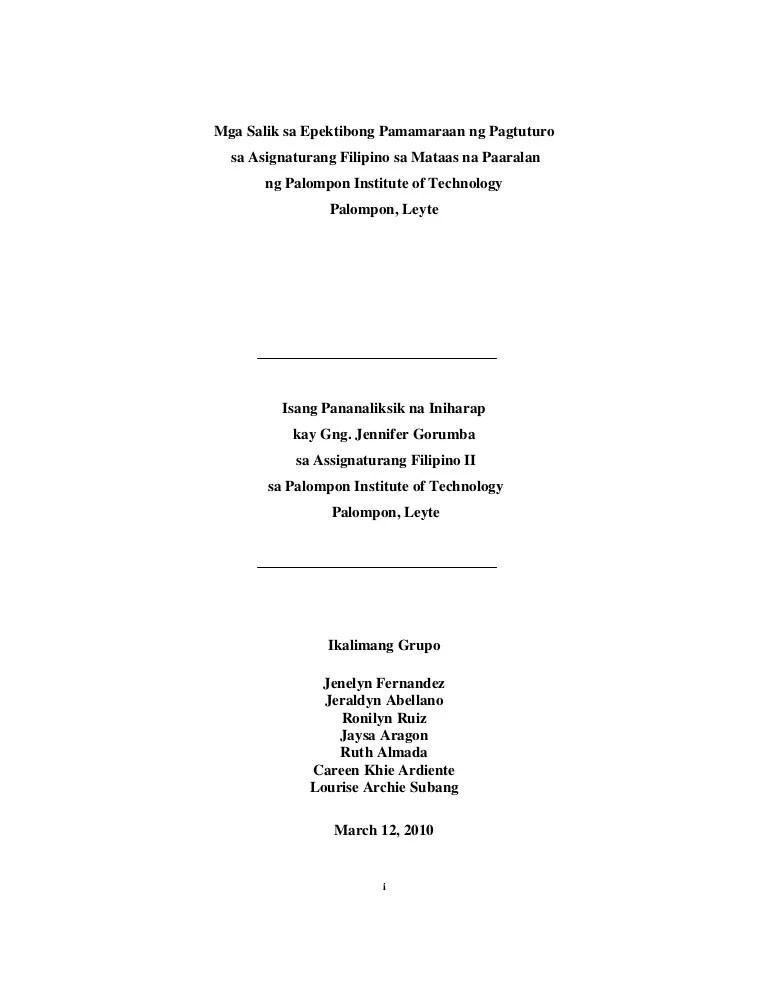 Research Paper In Filipino