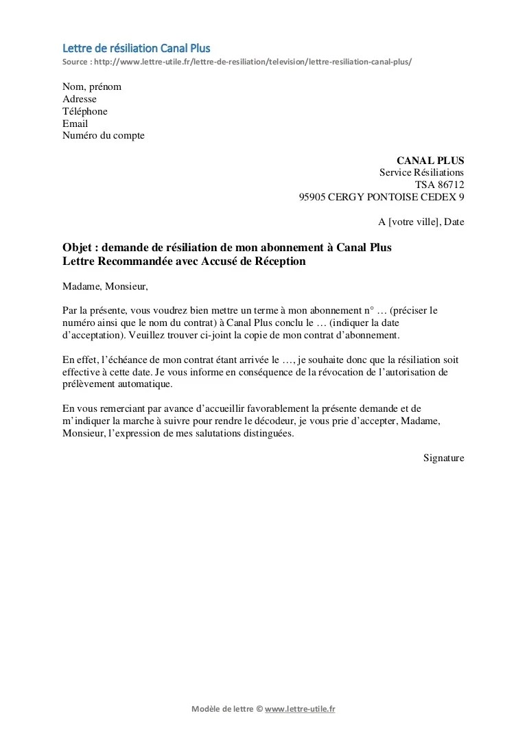 resiliation canal lettre