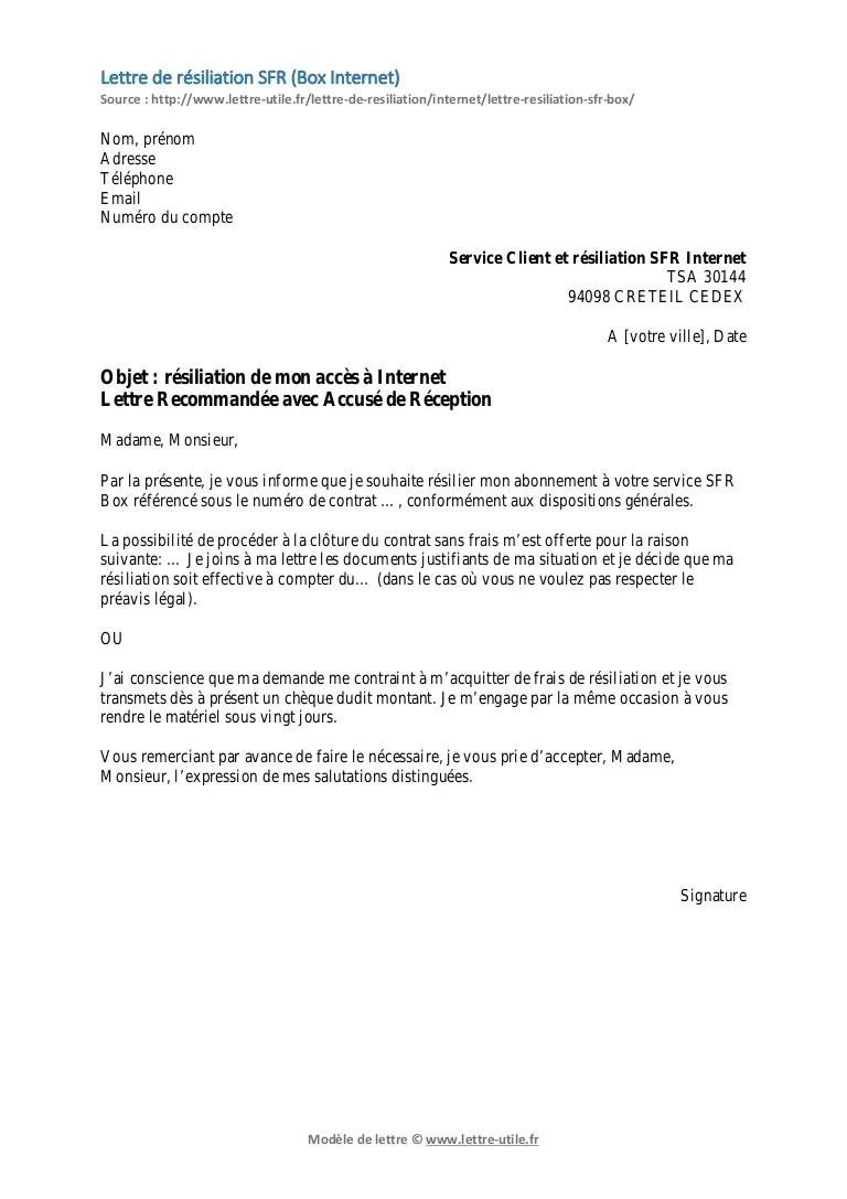 photo modele de lettre de resiliation sfr gratuit modele lettre