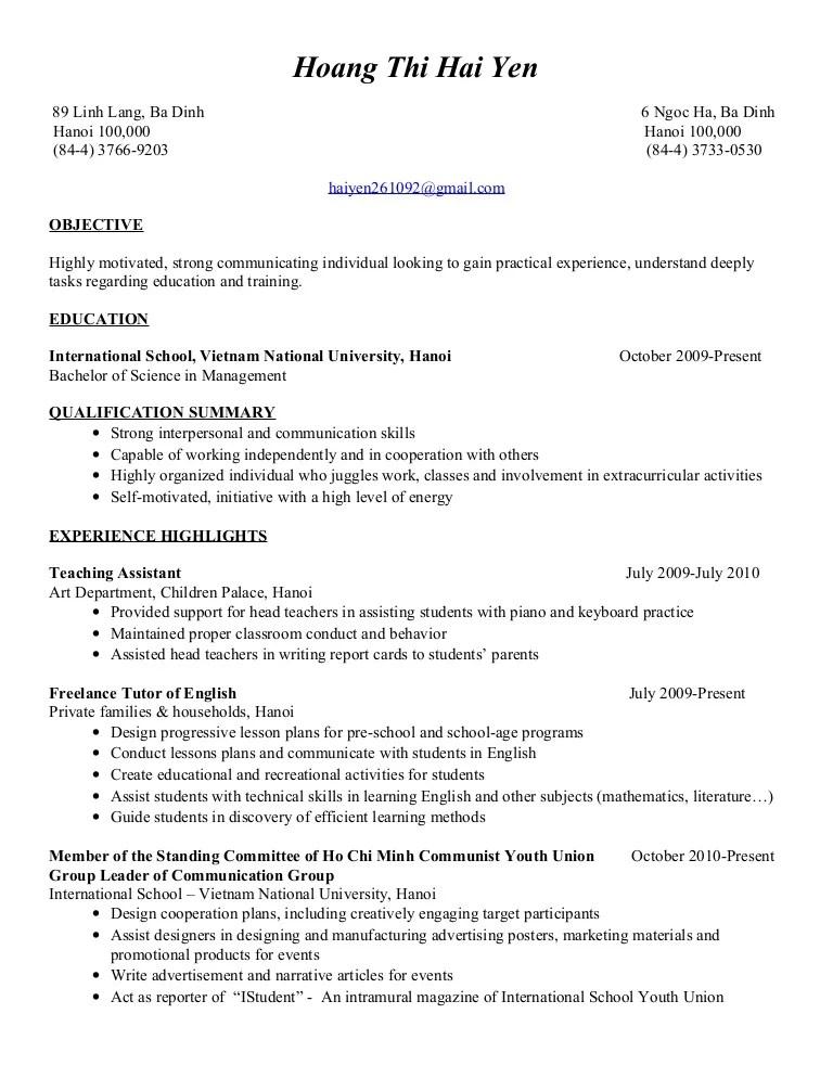 Resume Hoang Thi Hai Yen