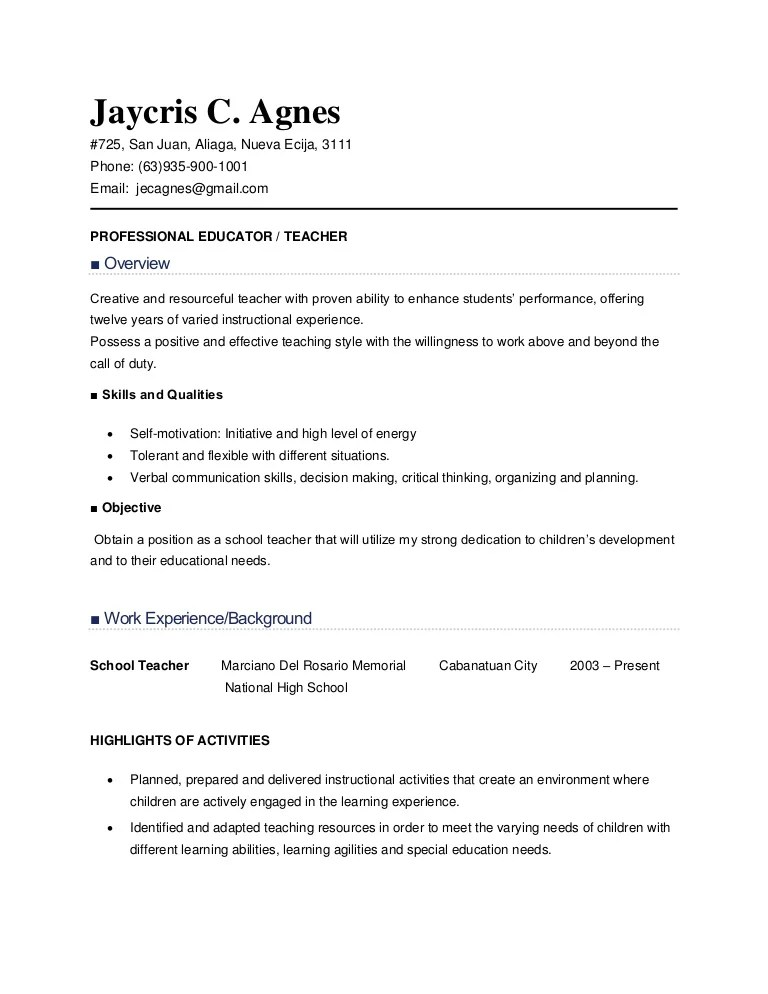 sample resume for teachers philippines