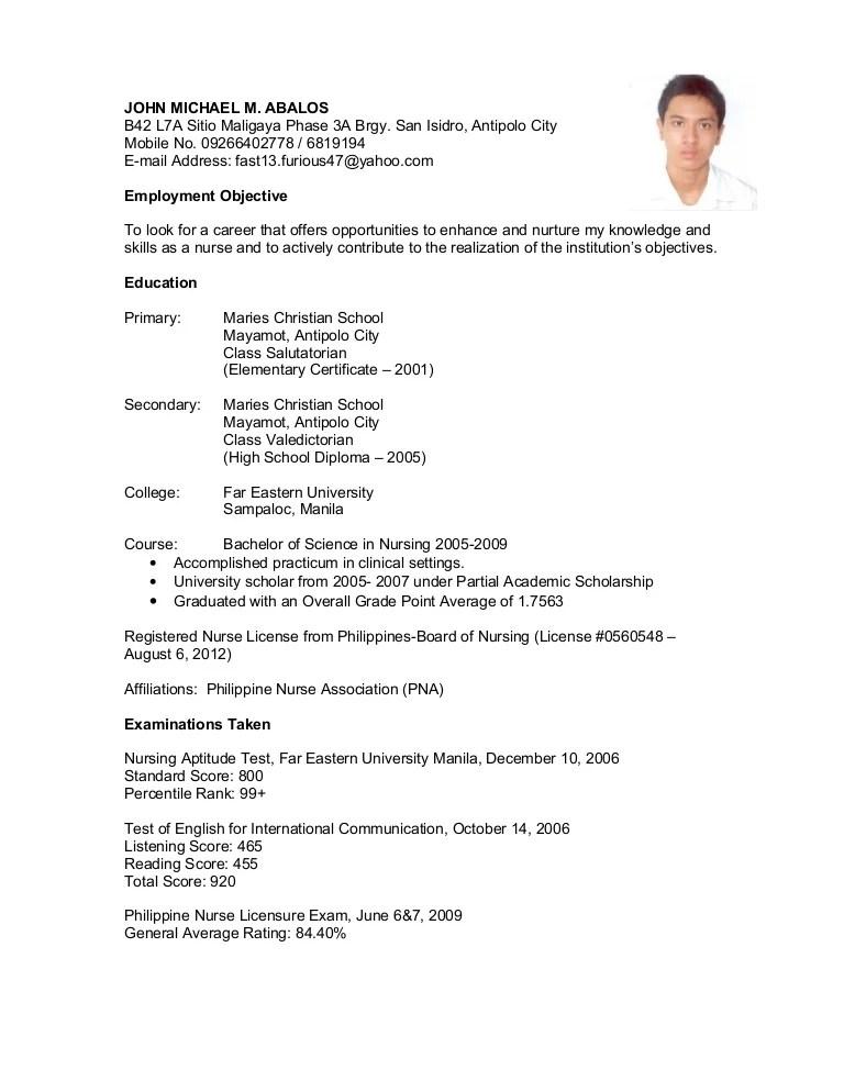 sample undergraduate resume philippines