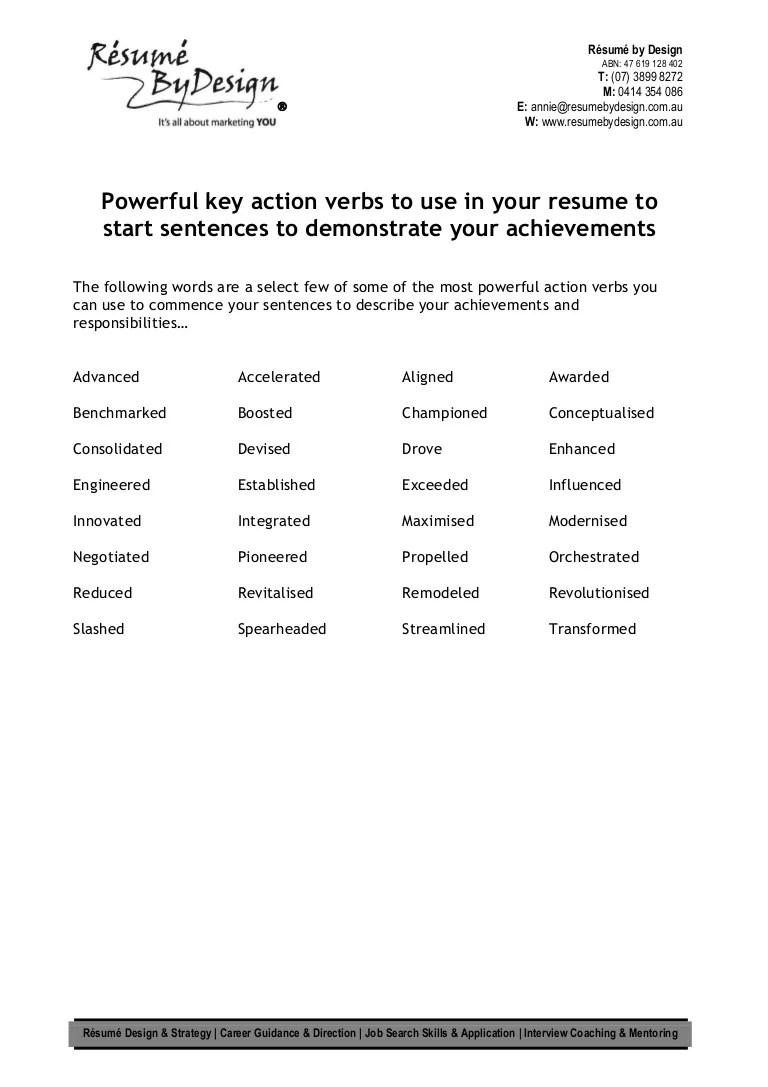 key verbs in resume