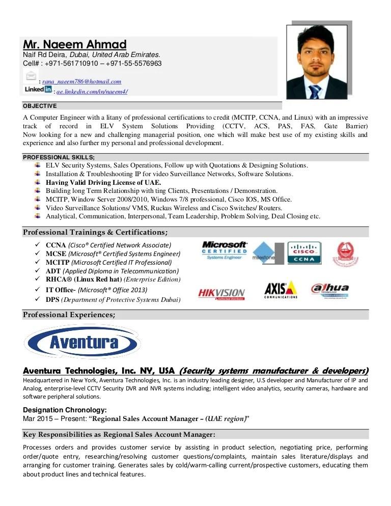 Resume cv Naeem Ahmad ELV Engineer