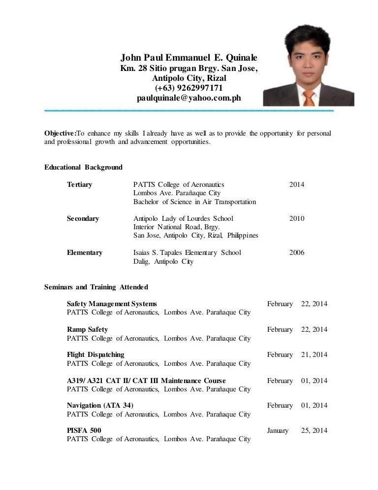 resume sample for ojt tourism students