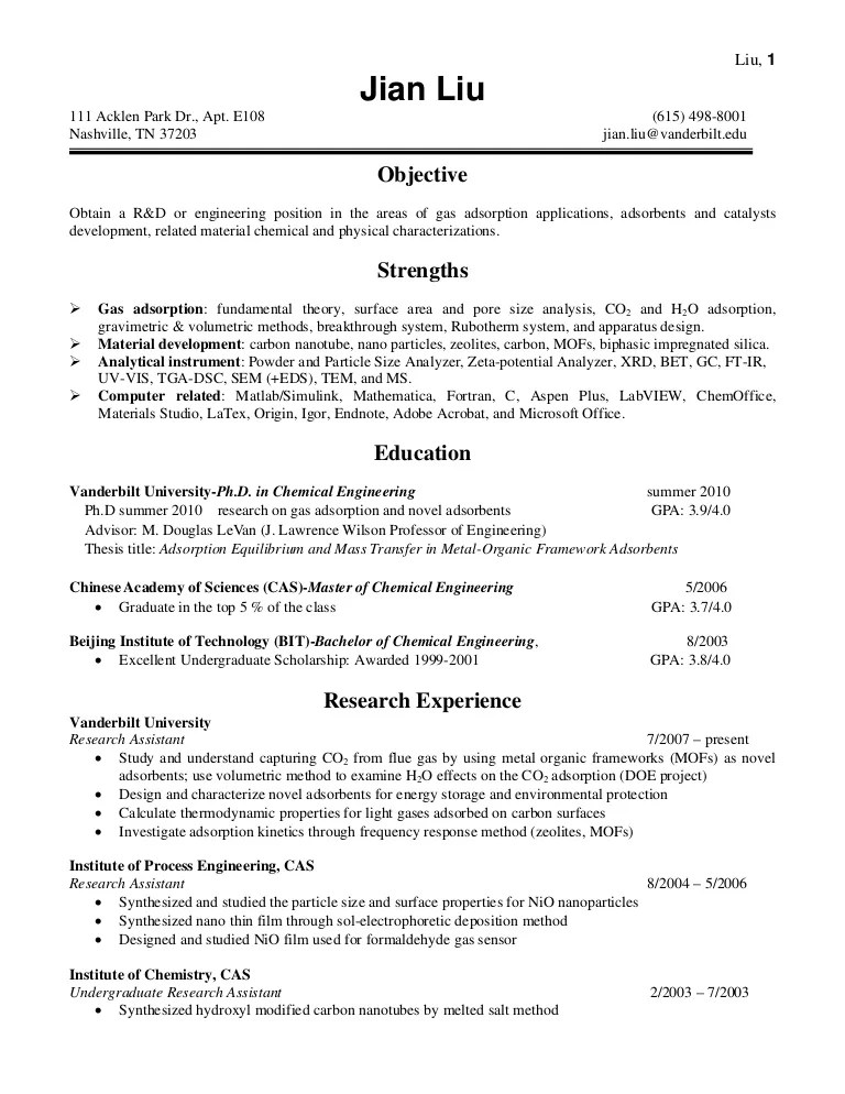 Resume Of Jian Liu Adsorption Vanderbilt University