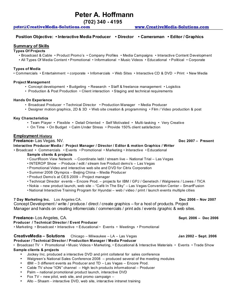 Music Producer Resume How Should A Cv Look Like