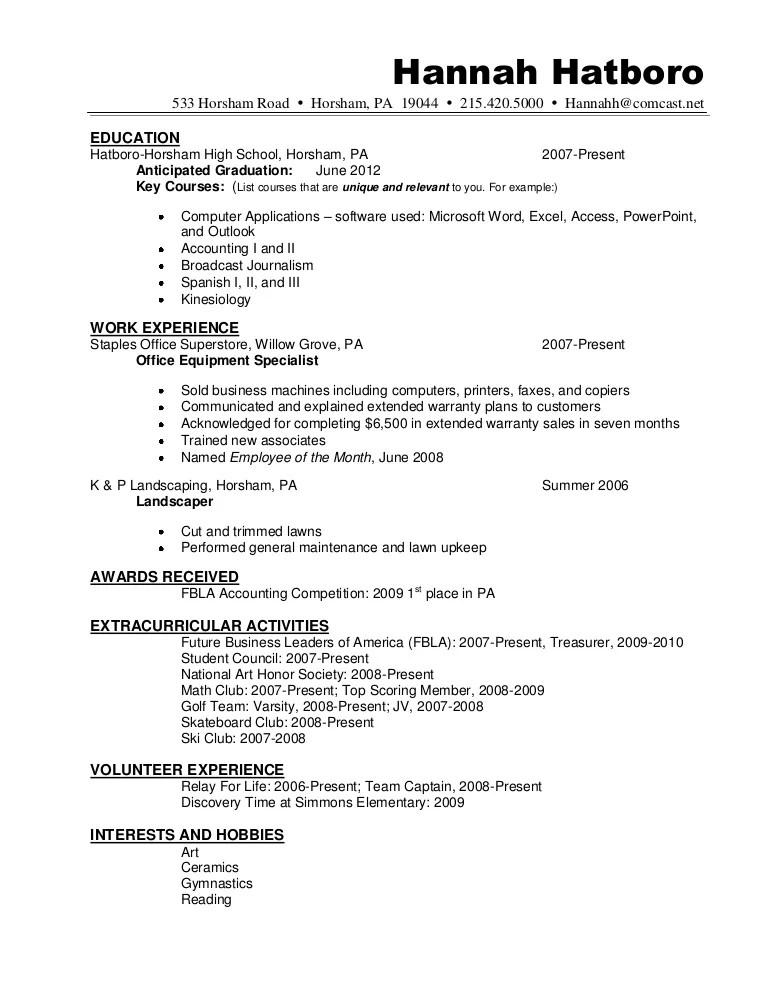 sample resume listing achievements
